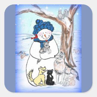 Pegatina Cuadrada Forma hoyuelos el muñeco de nieve y la charca del