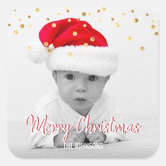 Pegatina Cuadrada FOTO ROJA de las Felices Navidad el | del confeti