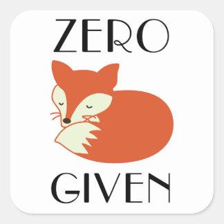 Pegatina Cuadrada Fox cero dado
