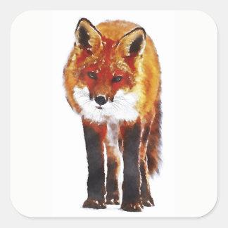 Pegatina Cuadrada Fox rojo