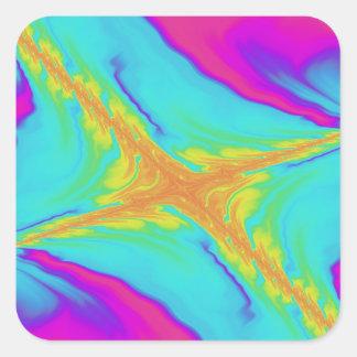 Pegatina Cuadrada fractal insomne del saludo