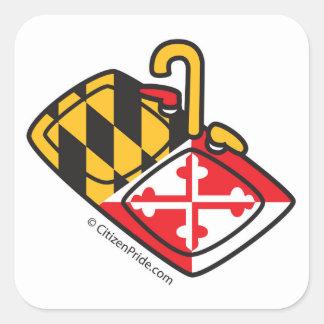 Pegatina Cuadrada Fregadero de cocina de la bandera de Maryland