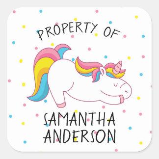 Pegatina Cuadrada Fuente de escuela del unicornio o propiedad de