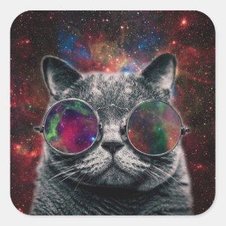 Pegatina Cuadrada Gafas que llevan del gato del espacio delante de