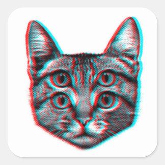 Pegatina Cuadrada Gato 3d, 3d gato, gato blanco y negro