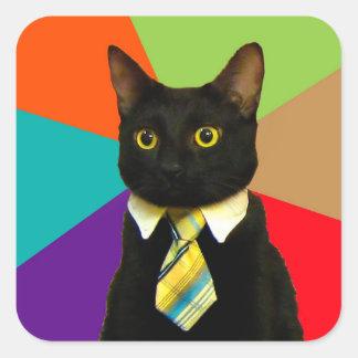 Pegatina Cuadrada gato del negocio - gato negro