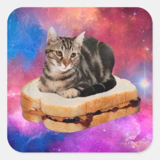 Pegatina Cuadrada gato del pan - gato del espacio - gatos en espacio