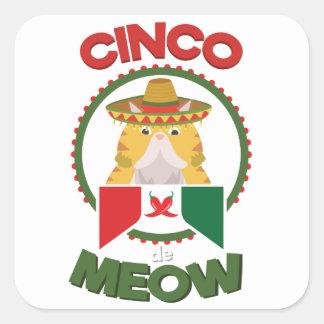 Pegatina Cuadrada Gato divertido para el día de fiesta del mexicano