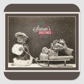 Pegatina Cuadrada Gato lindo estupendo del navidad del vintage