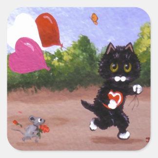 Pegatina Cuadrada Gato y ratón divertidos Creationarts de la tarjeta