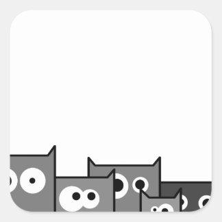 Pegatina Cuadrada gatos del bw