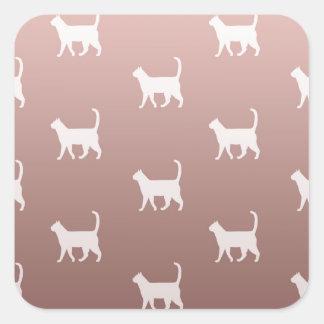 Pegatina Cuadrada Gatos en el oro color de rosa
