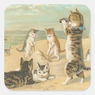 """Pegatina Cuadrada """"Gatos en vintage de la playa"""""""