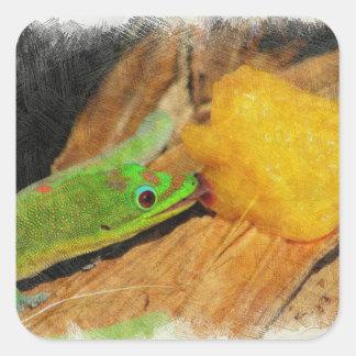 Pegatina Cuadrada Gecko que goza de los melocotones