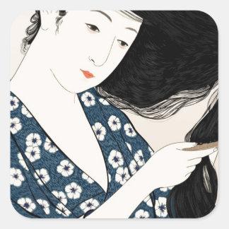 Pegatina Cuadrada Geisha japón