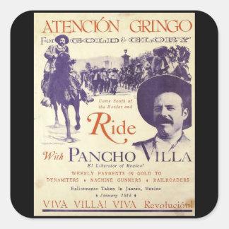 Pegatina Cuadrada General mexicano del héroe de Pancho Villa