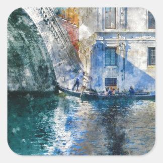 Pegatina Cuadrada Góndola en el Gran Canal de Venecia Italia