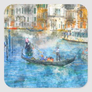Pegatina Cuadrada Góndolas en el Gran Canal de Venecia Italia
