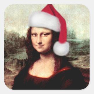 Pegatina Cuadrada Gorra de Santa del navidad de Mona Lisa