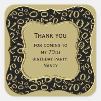 Pegatina Cuadrada Gracias - 70.o negro del cumpleaños y fiesta del