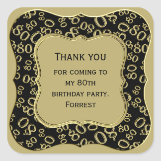 Pegatina Cuadrada Gracias - 80.o negro del cumpleaños y fiesta del