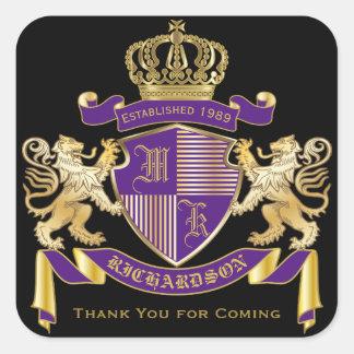 Pegatina Cuadrada Gracias emblema de oro del león del monograma del