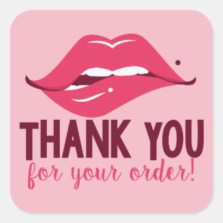 Pegatina Cuadrada Gracias por su orden - pegatinas del labio