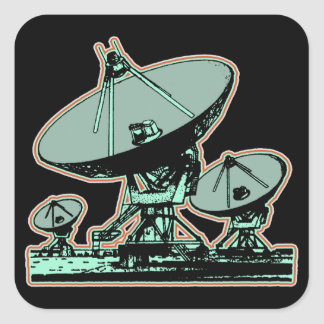 Pegatina Cuadrada Gráfico retro de la antena parabólica