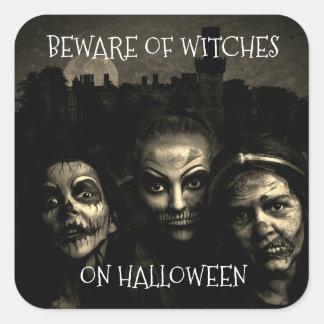 Pegatina Cuadrada Guárdese de brujas en los pegatinas de Halloween