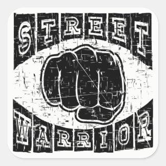 Pegatina Cuadrada guerrero de la calle