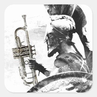 Pegatina Cuadrada Guerrero de la trompeta