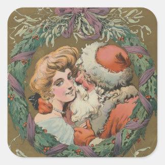 Pegatina Cuadrada Guirnalda del navidad de Santa del vintage que se