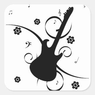 Pegatina Cuadrada Guitarra eléctrica negra con el estampado de