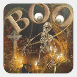 Pegatina Cuadrada Halloween esquelético y grave
