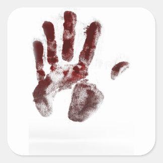 Pegatina Cuadrada Handprint de la sangre del asesino en serie
