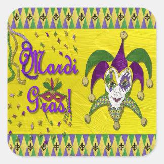 Pegatina Cuadrada Harlequin del carnaval de la máscara del bufón