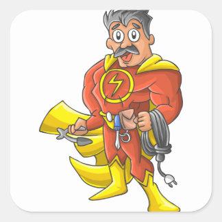 Pegatina Cuadrada Héroe del electricista