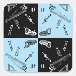 Pegatina Cuadrada Herramientas de la carpintería en tejas azules y