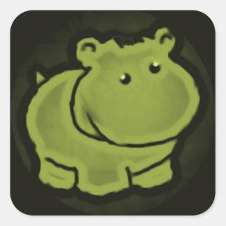 Pegatina Cuadrada Hipopótamo lindo