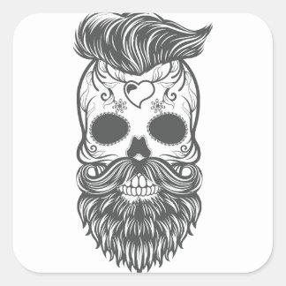 Pegatina Cuadrada Hipster sugar skull 2