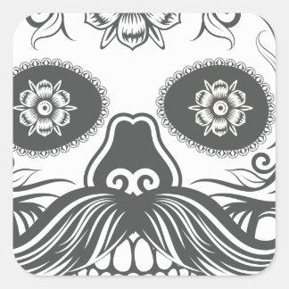 Pegatina Cuadrada Hipster sugar skull 3