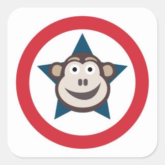 Pegatina Cuadrada Hoja estupenda del mono de los pegatinas