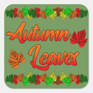 Pegatina Cuadrada Hojas de otoño