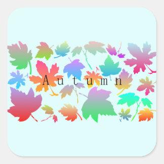 Pegatina Cuadrada Hojas de otoño coloridas