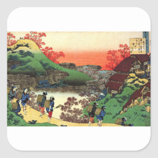 Pegatina Cuadrada Hokusai - arte japonés - Japón
