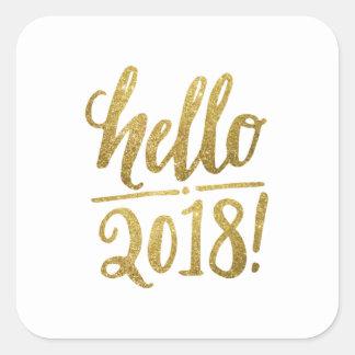 Pegatina Cuadrada Hola 2018 pegatinas y camisetas del Año Nuevo