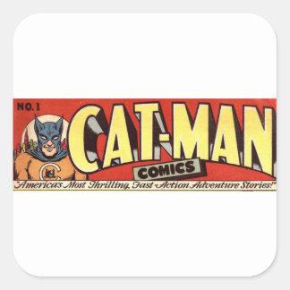 Pegatina Cuadrada Hombre que desea la bandera de los gatos