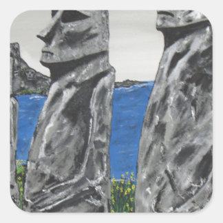 Pegatina Cuadrada Hombres de la piedra de la isla de pascua