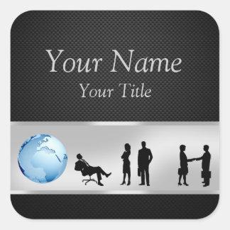 Pegatina Cuadrada Hombres de negocios del globo del mundo de la