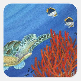 Pegatina Cuadrada Honu y coral negro